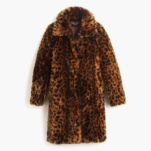 New JCREW Faux Fur Animal Print Leopard Coat